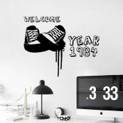 Aiwall 9175 DIY wall decal welcome year 1984,Shoes Wall Sticker Home Decoration