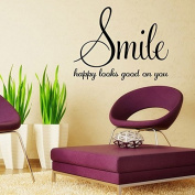 Aiwall 9338 Smile happy looks good on you Quote Wall Decals Stickers Wall Art Home Decor