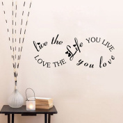 Aiwall 9298 LOVE THE LIFE YOU LIVE Wall Quote Decal Romantic Bedroom Decal