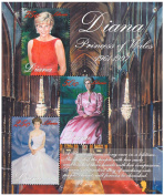 Lady Diana Princess Of Wales (1961-1997) - Commemorative Souvenir stamp sheet - Tribute to Lady Diana - Liberia / 1998 / 3 Stamps / MNH
