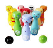 Lewo 10 Animals Skittles 2 Balls Bowling Set Indoor Outdoor Garden Lawn Party Game Stacking Blocks for Kids