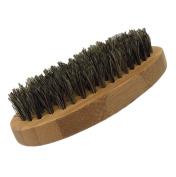 GBS Mens Beard Brush - 100% Nylon Bristle - Military Round Bamboo