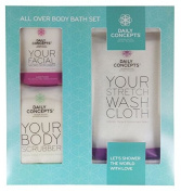 Daily Concepts All-Over Body Set Complete with 1 Stretch Wash Cloth, 1 Body Scrubber, 1 Facial Scrubber