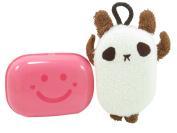Neon Pink Happy Face Soap Dish 11cm x 3.8cm and Bearcat-Shaped Cream Bath Sponge