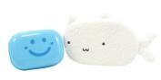 Soap Dish 11cm x 3.8cm and Bath Mitten Sponge Cream and Neon Blue