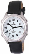Men's Atomic Talking Watch - White Face with Black Numbers by MAGNIFYING AIDS