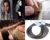 """40pcs 22"""" Inches 56cm Long Tape In Seamless Skin Weft PU Remy AAAAA Human Hair Extensions Silver Grey"""