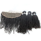 7A Unprocessed Mongolian Kinky Curly Virgin Human Hair Bundles With Lace Frontal Closure 13X4 Natural Colour