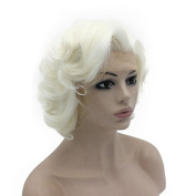 Mxangel Short Curly Wavy Wig Half Hand Tied Synthetic Lace Front Natural Heat Resistant Wig White Blonde