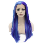 Mxangel Long Straight Half Hand Tied Fashion Blue Celebrity Synthetic Lace Front Wig Natural