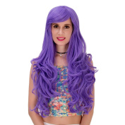 Purple Wig Long Curly Wavy Women'S Hair Cosplay Costume Wig Heat Resistant Party