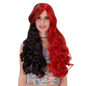 Womens Lolita Long Curly Wavy Hair Wig Black Mixed Red Cosplay Wig Costume