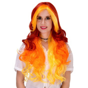 Red Orange Mixed Women Long Wavy Curly Hair Full Wig For Cosplay Party Halloween