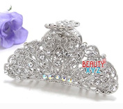Beautyxyz woman Large metal silver WHITE bling paisley claw clip medium thick hair