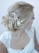 USABride Bridal Hair Comb Clip Ivory Gold-Tone Floral Flower Wedding Accessory TC-2274-G