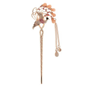 Womens Peacock Crystal Hair Clips Beauty Tools With Tassel#09
