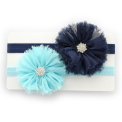 My Lello Girls Shabby Ballerina Flowers w/ Rhinestones Elastic Headbands Pair