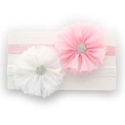 My Lello Girls Shabby Ballerina Flowers w/ Rhinestones Elastic Headbands Pair