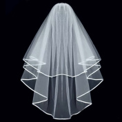 Ewandastore Double Ribbon Edge Centre Cascade Bridal Wedding Veil with Comb Ivory
