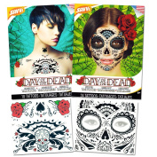 Day of the Dead Sugar Skull Chest and Face Tattoo Kits -- 2 Chest and Face Temporary Tattoo Sets