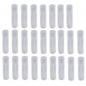 SelfTek 25Pcs Empty Lip Balm Tubes Transparent Clear Containers with Lid Caps for Crayon Lipstick chapstick and homemade Lip Balm