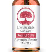 Retinol Serum 2.5% for Wrinkles, Fine Lines, Acne Scars, Skin Blemishes & Minimises Pores - Vitamin A + Hyaluronic Acid, Vitamin E, Organic Green Tea, Jojoba Oil - Organic, Natural & Cruelty Free