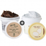 [Skinfood] Skinfood Black Sugar Mask Wash Off 100ml(100g)+Egg White Pore Mask Wash Off 130ml(125g) Set