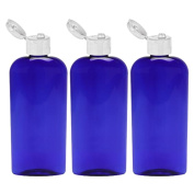 MoYo Natural Labs Blue Lotion Bottle 8 oz Flip Cap empty liquid dispenser 236 ml Lotion Container 8 ounce Pack of 3