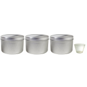 470ml Large Metal Steel Tin Deep Container with Tight Sealed Cover Lid (3 pack) + Measuring Cup