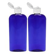 Moyo Natural Labs 8 Oz Cobalt Blue Easy Squeeze Lotion Containers Durable No Leak Bottle Flip Cap Hand Pump Dispenser 8OZ LOTION BOTTLE 236 ml 2 Pack