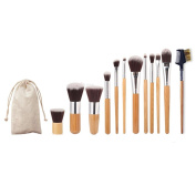 AMA(TM) 1 PC Eyebrow Comb Brush + 11 PCS Facial Foundation Cosmetic Makeup brushes +1 PC String Makeup Bag Set Kits Tools