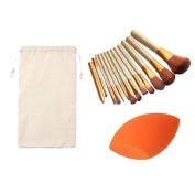 AMA(TM) 1 PC Sponge Puff + 12 PCS Facial Foundation Cosmetic Makeup brushes +1 PC String Makeup Bag Set Kits Tools