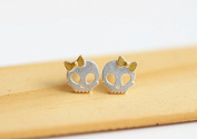 Authentic skull silver stud earring sterling 925 gold little girl bowknot jewellery