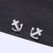 fashion anchor shape design 925 sterling silver stud earring for women