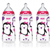 NUK 14099 Pink Penguins Baby Bottle with Perfect Fit Nipples, 300mls, 3-Pack