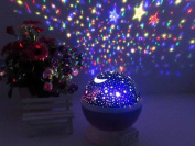 Star and Moon Starlight Projector Night Light Bedside Lamp, ZHOPPY USB / Battery Powered Romantic Rotating Cosmos Star Light Sky Moon Projector Lamp, Rotation Night Projection Child Kid Bedroom