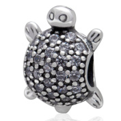 Charmstar Sea Turtle with Clear CZ Stone Charm Authentic 925 Sterling Silver Animal Beads for European Bracelet