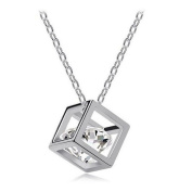 XILALU Women Chain Crystal Rhinestone Square Pendant Alloy Necklace Jewellery