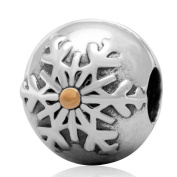 Charmstar Snowflake Winter Wonderland Clip Charm Authentic Sterling Silver Gold Plated Lock Stopper Bead for European Bracelet