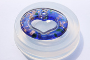 Clear silicone Heart Love pendants mould, 40mmx50mm.