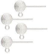 Sterling Silver 6mm Stardust Ball Earring Post w/Ring, 2 Pair (4) Pieces
