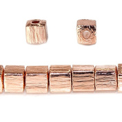 4mm Rose Gold plated Copper Brushed Cube Beads 8 inch 50 pieces