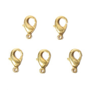 15mm 22kt Gold plated Brushed Lobster Clasp Set of 5