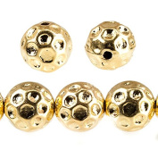 10mm 22kt Gold plated Large Hole Honeycomb Round Beads 10 pieces