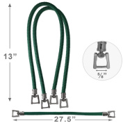 70cm HUNTER GREEN Synthetic Cording Handbag Handles with metal buckle by 1 pair, HD-122