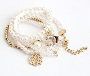 mywaxberry 5pcs/pack golden alloy dress accessory tiara pearls diamonds ring bracelet