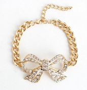 mywaxberry golden alloy dress accessory tiara chain ring diamonds bowknots bracelet