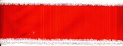 6.4cm Wide Red Flocked Ribbon with White Fuzzy Edges - 2 Yards