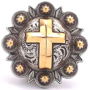 Cross Berry Concho Antique Silver and Rose Gold 2.5cm - 1.3cm 1738-31