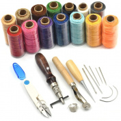 Bluemoona 7Pcs - Leather Carft Hand Stitching Sewing Tool Kit Thread Awl Waxed Thimble SkyBlue